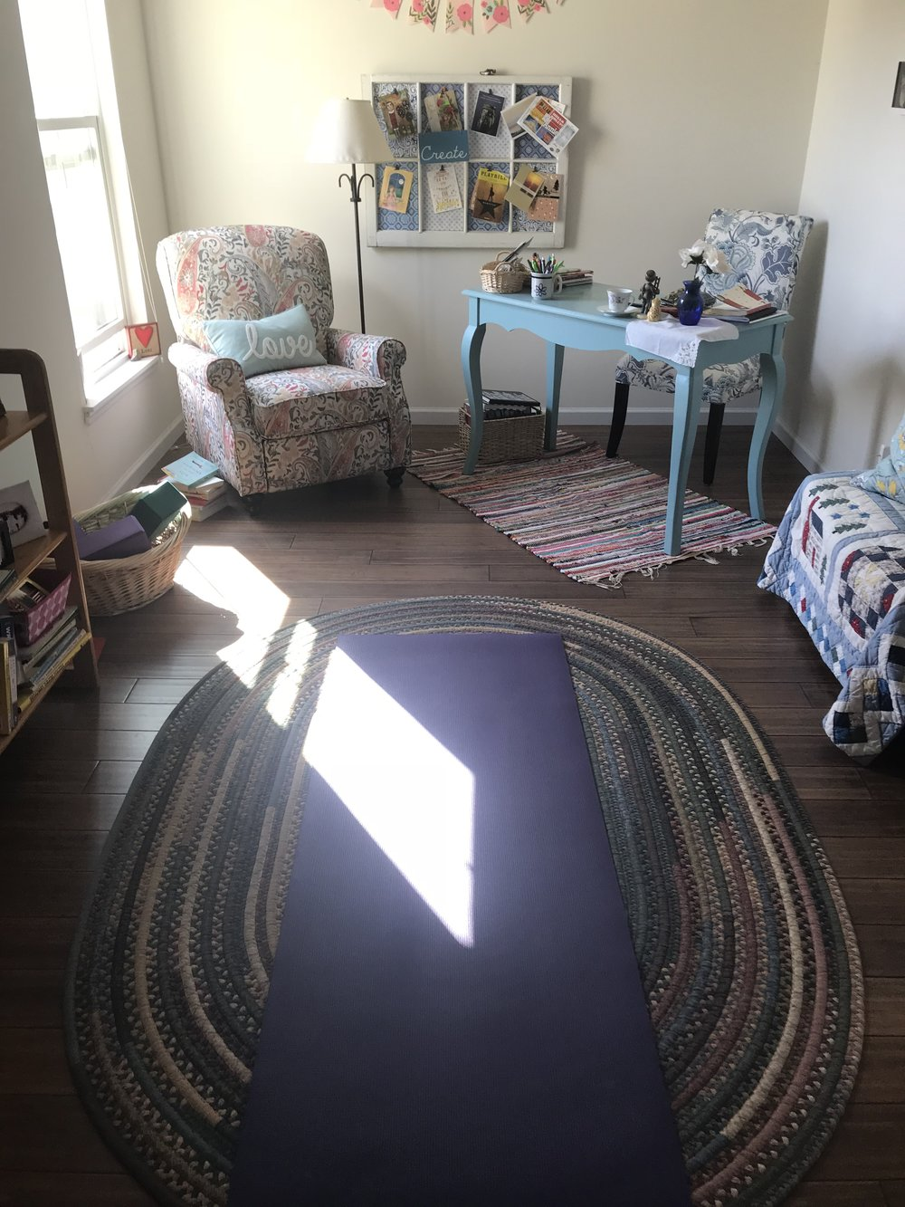 cozy office/home yoga space